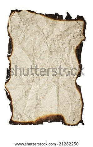crumpled paper with charred edges - isolated