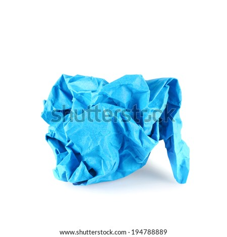 Crumpled piece of blue colored paper, isolated over the white background