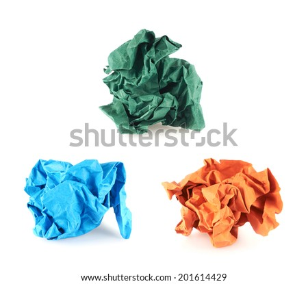 Crumpled piece of colored paper, isolated over the white background, set of three colors