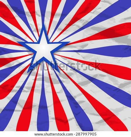 Crumpled retro ray background with star illustration Amer - stock photo