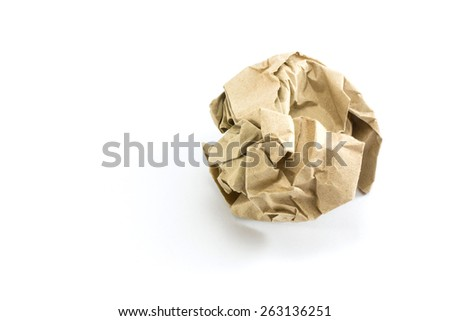 Crumpled sheet of paper isolated ., Junk paper can be recycle on white background - stock photo