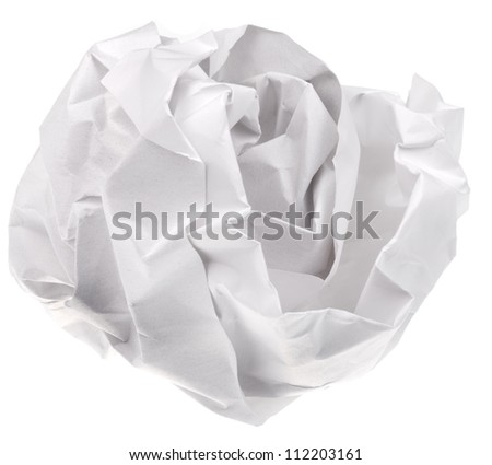 crumpled sheet of paper isolated on white background - stock photo