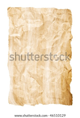 crumpled sheet of yellow old paper with rich detail and torn edges on white background
