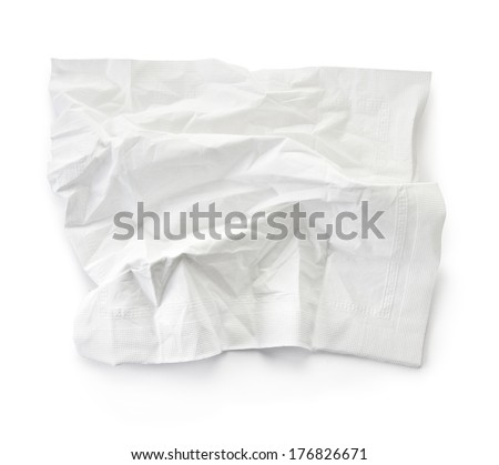 crumpled tissue, clipping path included - stock photo
