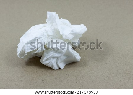 Crumpled tissue paper isolated background. - stock photo