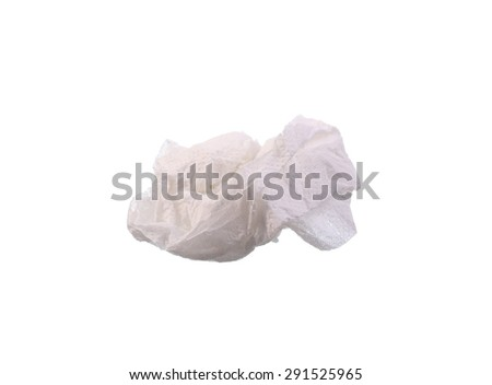 Crumpled tissue paper isolated white background - stock photo