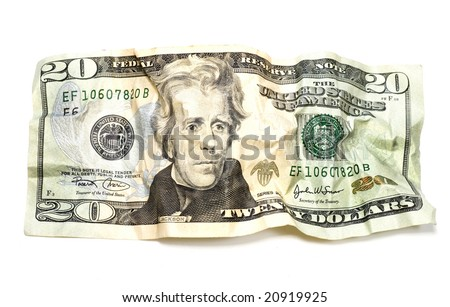 Crumpled Twenty Dollars bill isolated on white - stock photo