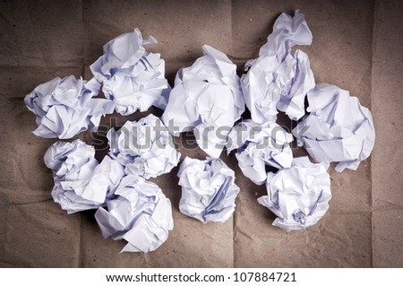 Crumpled up paper balls of white paper - stock photo