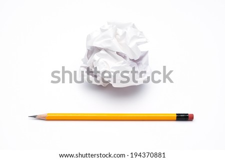 crumpled up paper wads and pencil,  isolated on white background. Writing concept - stock photo