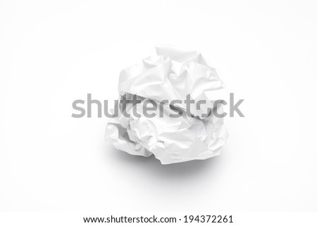 crumpled up paper wads  isolated on white background. Writing concept - stock photo