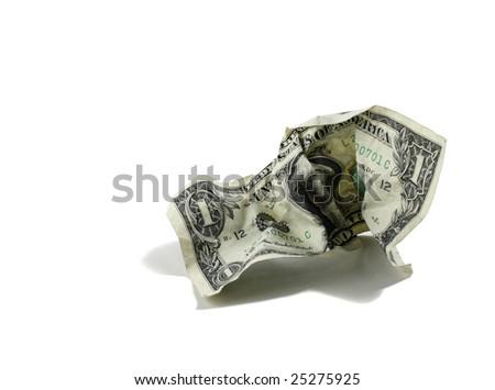 Crumpled US Dollar - stock photo