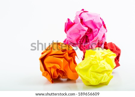 Crumpled white A4 paper isolated with ball shape