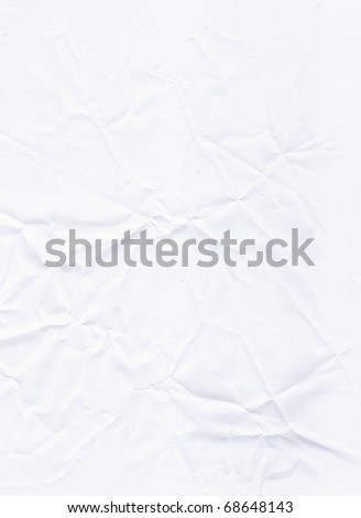 Crumpled white empty paper background (high-detailed texture) - stock photo
