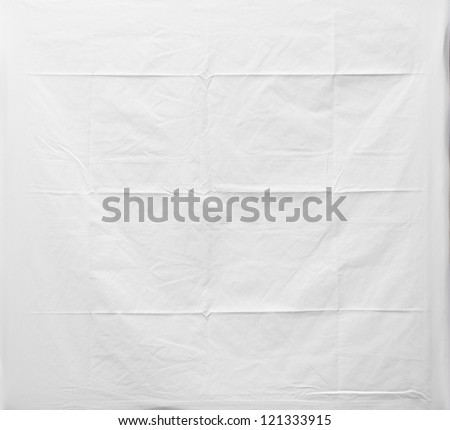 Crumpled white fabric texture, cloth background - stock photo
