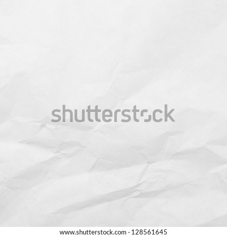Crumpled white paper background (monochrome) - stock photo