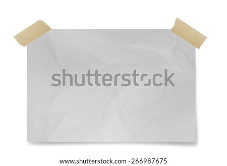 Crumpled white paper   sheet with adhesive tape  isolated on  white background - stock photo