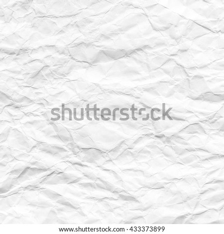 Crumpled white paper texture or white paper background for design with copy space for text or image. - stock photo