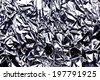 Crumpled wrinkled silver foil texture. - stock photo