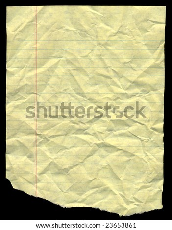 Crumpled yellow lined paper for background - stock photo