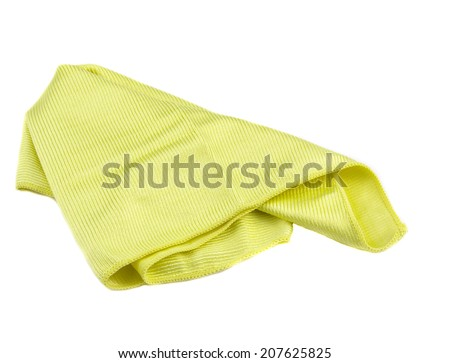 Crumpled yellow microfiber cloth isolated on white background