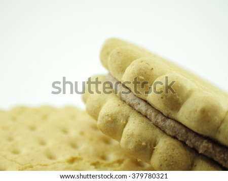 Crunchy biscuits with white background