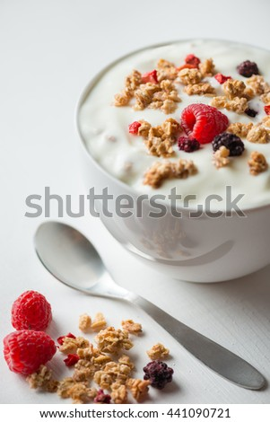 Crunchy Cereals with fruits - stock photo