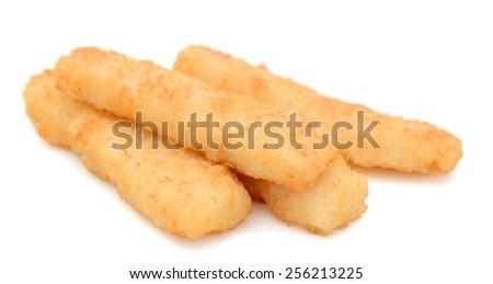 crunchy fish sticks on white background - stock photo