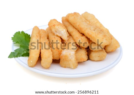 crunchy fried fish sticks on plate isolated on white  - stock photo