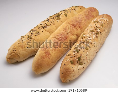 Crunchy long bread with almond flavor and sesame flavour. - stock photo