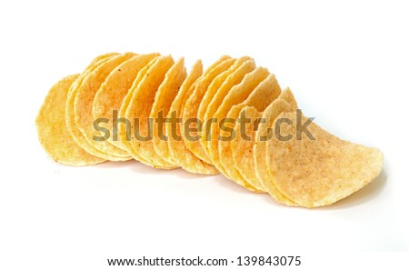 crunchy potato chips on white background.