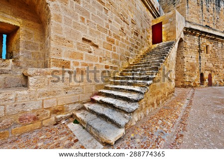 Crusader Fortress of Aigues Mortes in France - stock photo