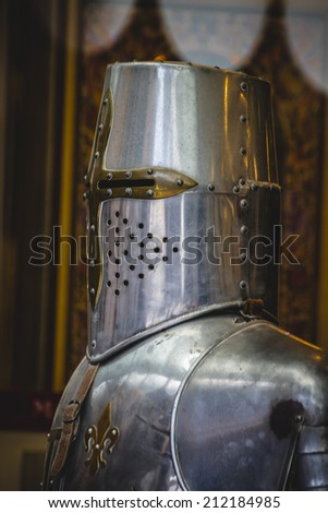 crusader, medieval armor made of wrought iron - stock photo