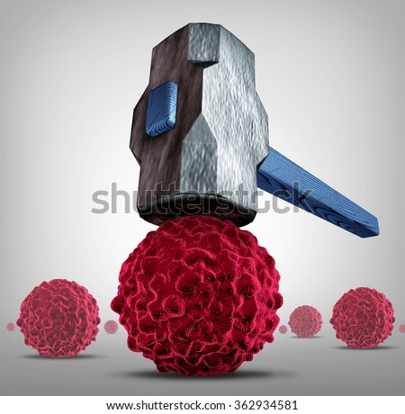Crush cancer concept as a heavy sledgehammer or hammer crushing and smashing,a cancerous cell as a health care medical symbol for a cure to fight the dangerous disease with life saving treatments. - stock photo