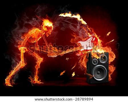 Crush guitar. Fiery skeleton breaks a guitar. Series of fiery illustrations. - stock photo