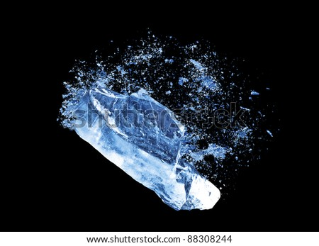 Crush ice isolated black background - stock photo
