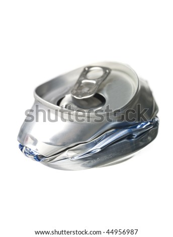 Crushed Aluminum Can isolated on white background - stock photo