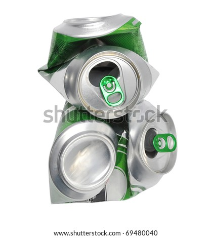 crushed beer can isolated on white background - stock photo