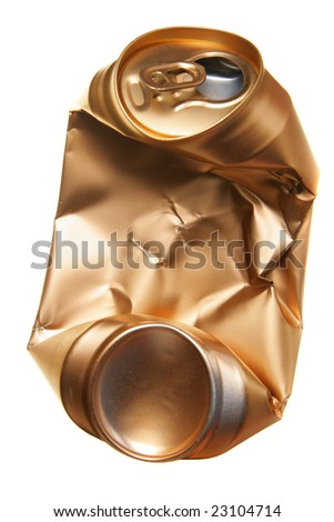 Crushed beer can isolated over white background - stock photo