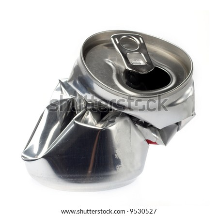 crushed beverage can  on white - stock photo