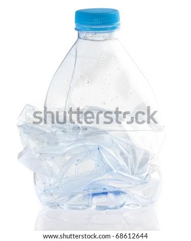 crushed bottle isolated on a white background - stock photo