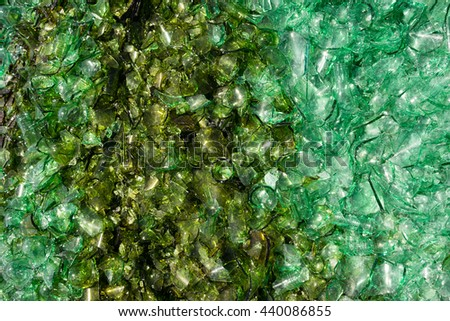 Crushed Broken Glass Bottle Recycle Sharp Green shards