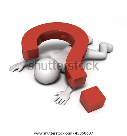 Crushed by Question - (3D character struck down by a heavy question mark) - stock photo