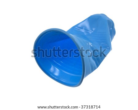Crushed disposable glass isolated on a white background - stock photo