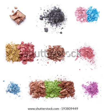 Crushed eye shadow over white background