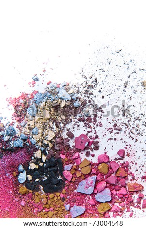 crushed eyeshadow on white background - stock photo