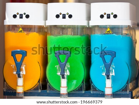 Crushed Fruit Ice Drink Dispensers with Color Refreshments - stock photo