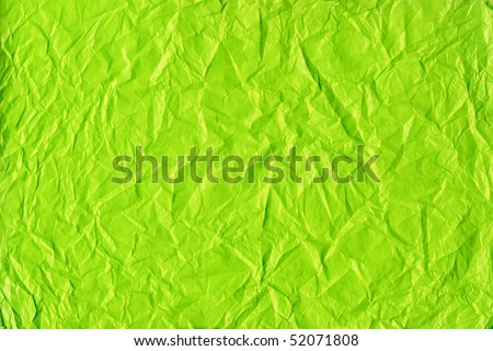 Crushed green paper texture - stock photo
