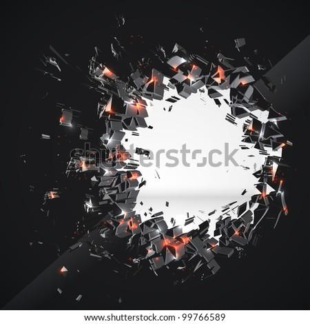 Crushed Hole - stock photo