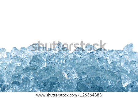 crushed ice in front of white background - stock photo