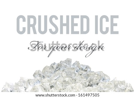 Crushed ice pile with clipping path on white background - stock photo